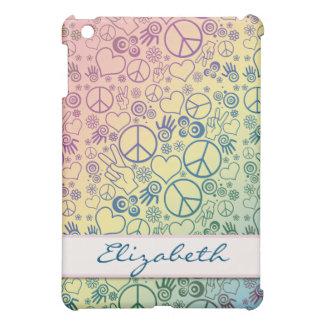 Peace Symbol Design Personalize Monogram iPad Mini Covers