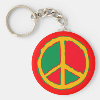 Peace Symbol Designed In Bold Stimulating Colors Keychain
