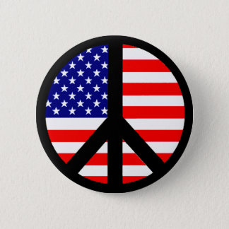 Peace Symbol Flag Pinback Button