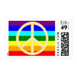 peace symbol flag stamp