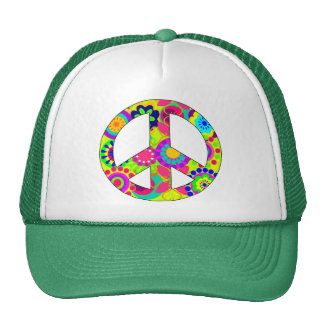 peace symbol,floral peace symbol trucker hats
