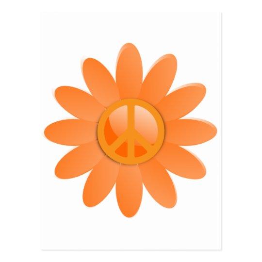 Peace Symbol Flower - Cantelope Orange Postcard