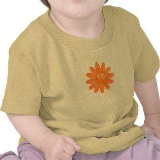 Peace Symbol Flower - Cantelope Orange Tshirts