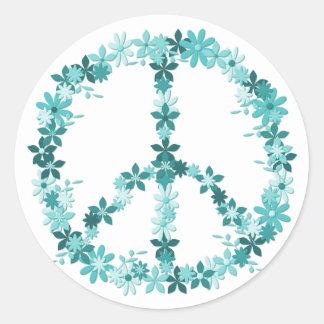 Peace symbol flower power classic round sticker