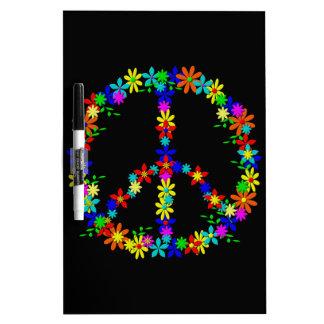 Peace symbol flower power dry erase whiteboards