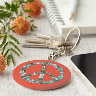 Peace symbol flower power keychain