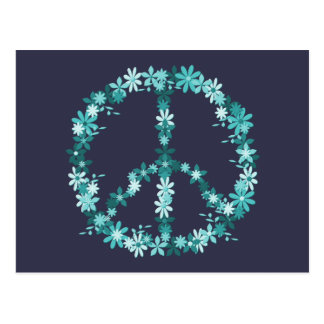 Peace symbol flower power postcard