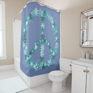 Peace Symbol Flower Power Shower Curtain