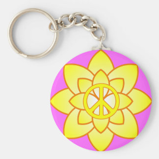 Peace Symbol Flower - Yellow Basic Round Button Keychain