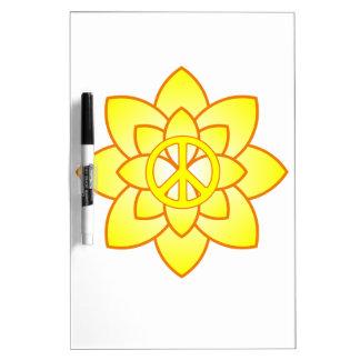 Peace Symbol Flower - Yellow Dry-Erase Whiteboards