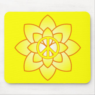 Peace Symbol Flower - Yellow Mouse Pad