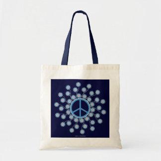 Peace Symbol Flowers Canvas Bag