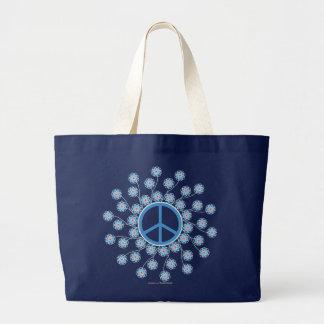 Peace Symbol Flowers Canvas Bags