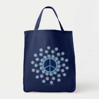 Peace Symbol Flowers Tote Bags