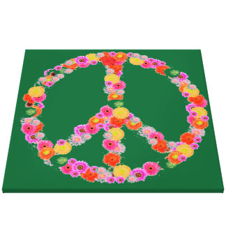 Peace symbol  flowers on green background canvas prints