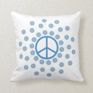 Peace Symbol Flowers Throw Pillow