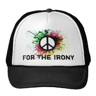 peace symbol, For The Irony Trucker Hat