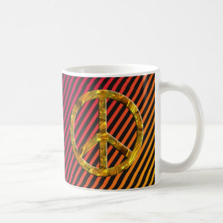 PEACE symbol - GOLD & SILVER   harmony stripes Coffee Mug