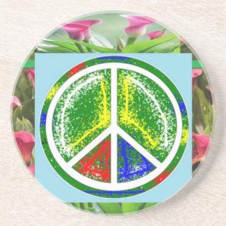 PEACE SYMBOL :  Green Artistic Flowers Drink Coaster