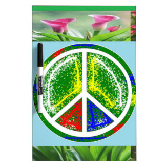 PEACE SYMBOL :  Green Artistic Flowers Dry-Erase Whiteboard