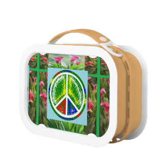 PEACE SYMBOL :  Green Artistic Flowers Lunch Box