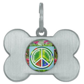 PEACE SYMBOL :  Green Artistic Flowers Pet Tag
