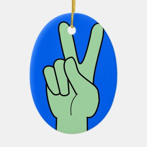 Peace Symbol Hand Christmas Ornaments