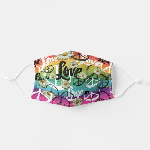 PEACE Symbol Hippie Daisy Flower LOVE Tie_Dye Adult Cloth Face Mask