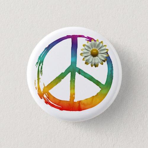 Peace Symbol Hippie Love 1960s Sign Daisy Love Button