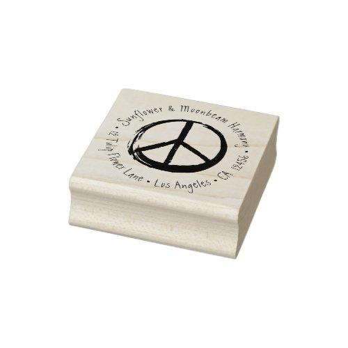 Peace Symbol Hippie Love 1960s Sign Return Address Rubber Stamp