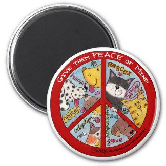 Peace Symbol-Humane 2 Inch Round Magnet