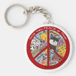 Peace Symbol-Humane Basic Round Button Keychain