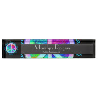 Peace Symbol in Rainbow Colors with Tree of Life Desk Name Plate