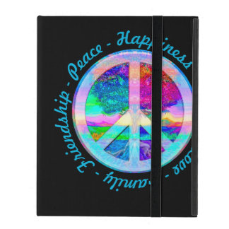 Peace Symbol in Rainbow Colors with Tree of Life iPad Covers