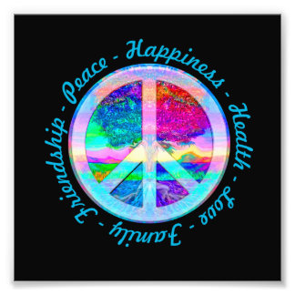 Peace Symbol in Rainbow Colors with Tree of Life Photo Print
