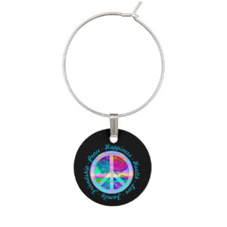 Peace Symbol in Rainbow Colors with Tree of Life Wine Charms