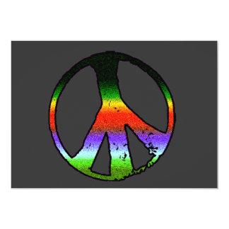Peace Symbol in Rainbow Glitter Card