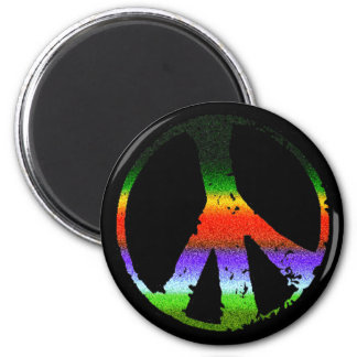 Peace Symbol in Rainbow Glitter Magnet