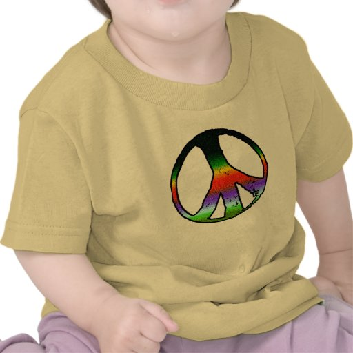 Peace Symbol in Rainbow Glitter Tee Shirts