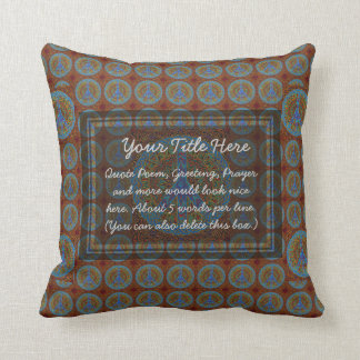 Peace Symbol in red and brown colors Throw Pillow