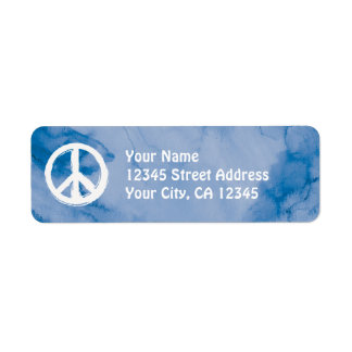 Peace Symbol in White on Watercolor Label