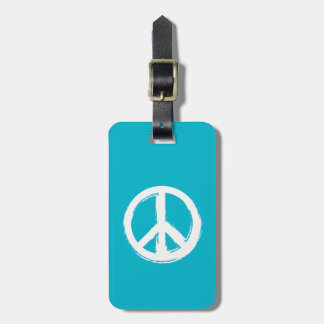 Peace Symbol in White on Your Color Choice Tags For Luggage