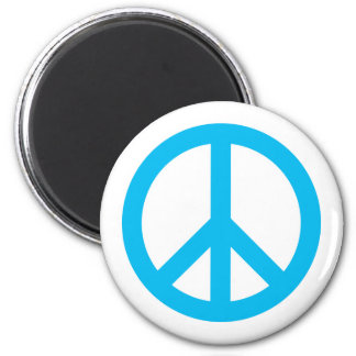 Peace Symbol - Light Blue 2 Inch Round Magnet