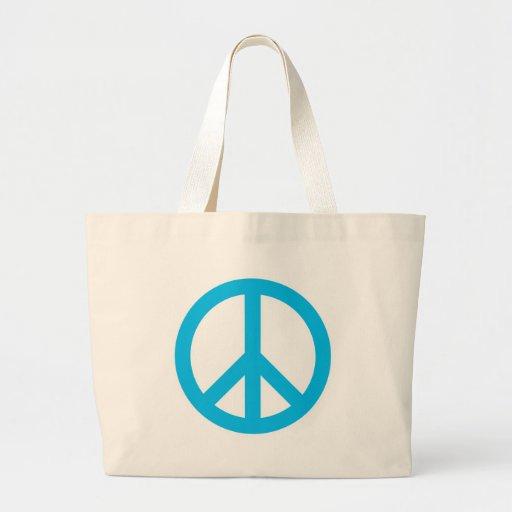 Peace Symbol - Light Blue Canvas Bags