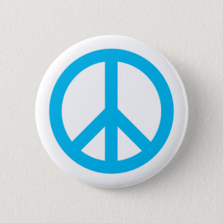 Peace Symbol - Light Blue Pinback Button
