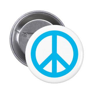 Peace Symbol - Light Blue Pinback Button