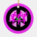 Peace symbol marathon Double-Sided ceramic round christmas ornament