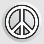 PEACE SYMBOL metallic silver grey gray black white Classic Round Sticker