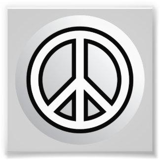 PEACE SYMBOL metallic silver grey gray black white Photo Print