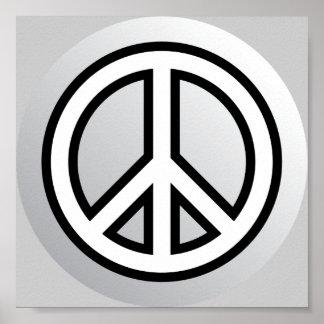 PEACE SYMBOL metallic silver grey gray black white Poster